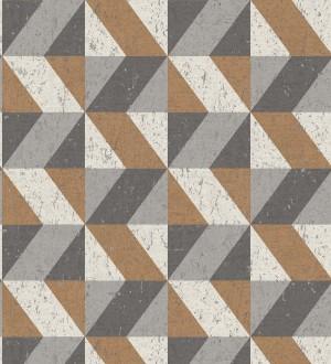 Papel pintado rombos geométricos zig zag cobre, beige y gris Kepler 679265