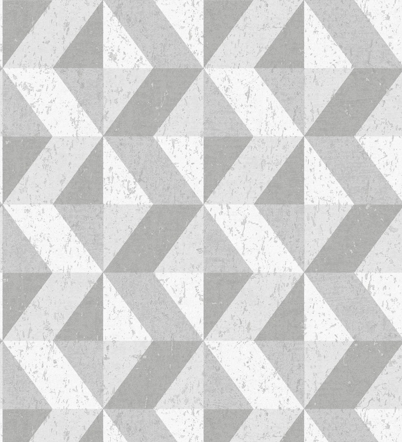 Papel pintado rombos geométricos zig zag blanco, gris y plata Kepler 679267