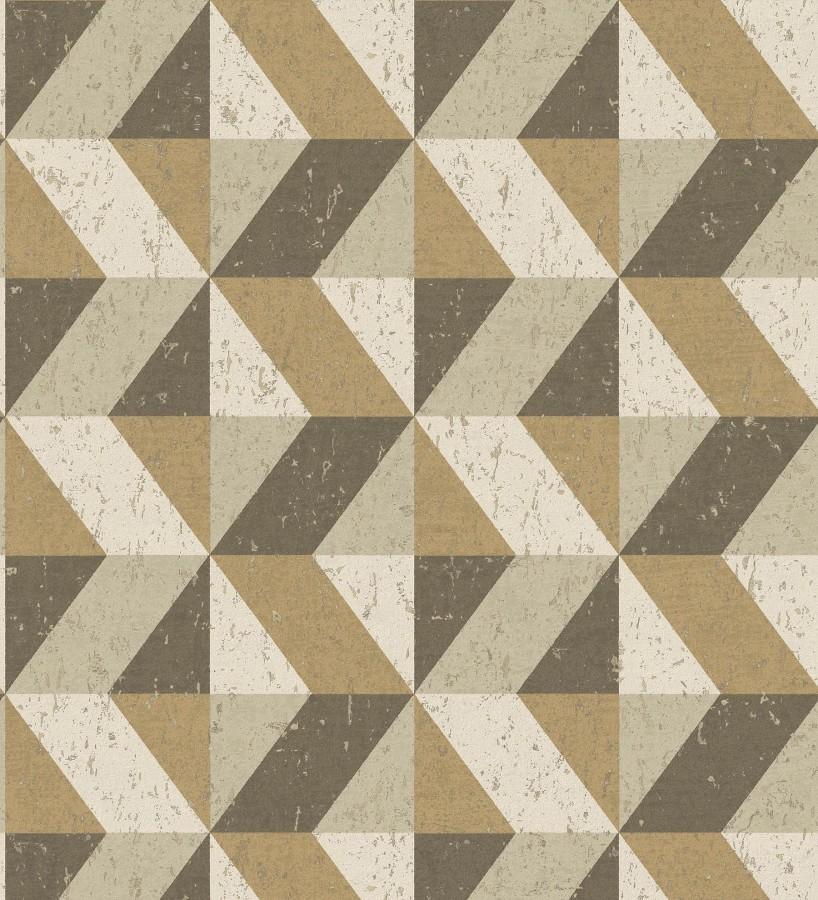 Papel pintado rombos geométricos zig zag dorado, marrón y beige Kepler 679268