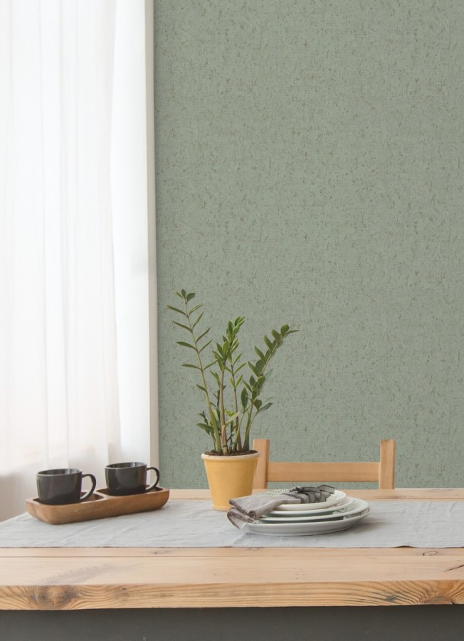 Papel pintado texturizado verde Preston Stone 679269