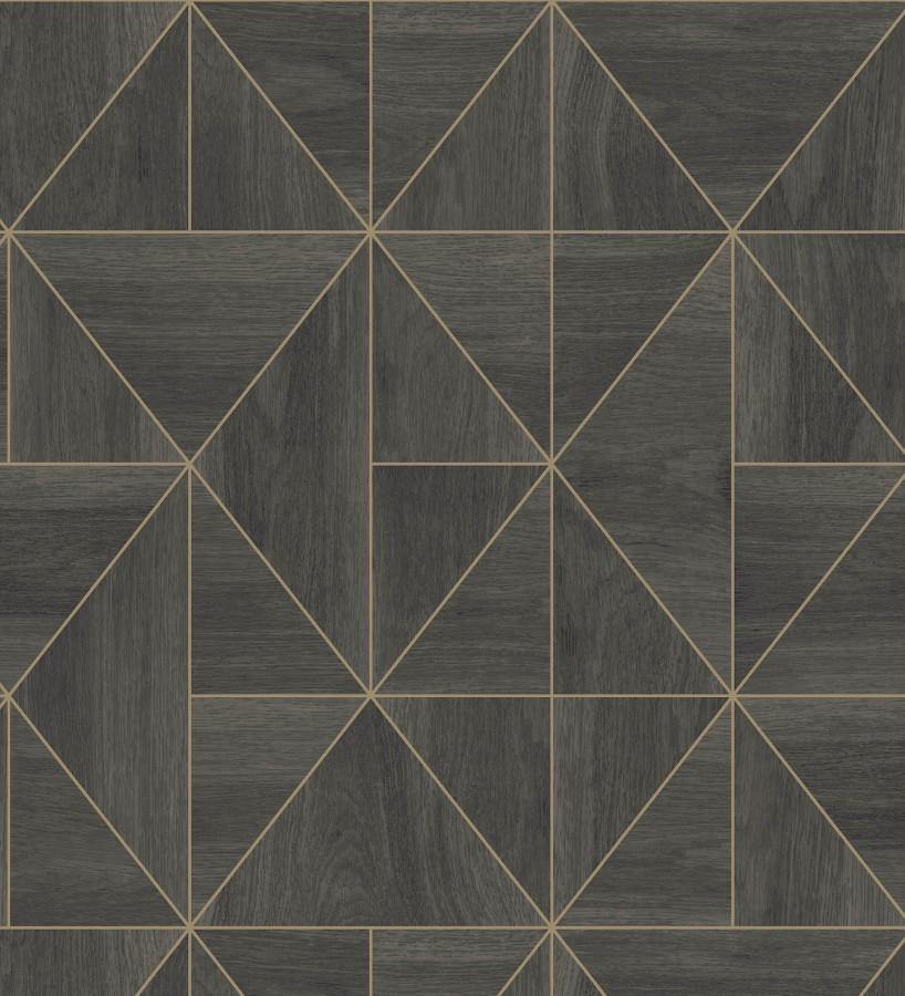 Papel pintado geométrico efecto madera estilo Art Déco Royal Lodge 679274