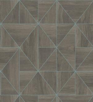 Papel pintado geométrico efecto madera estilo Art Déco Royal Lodge 679275