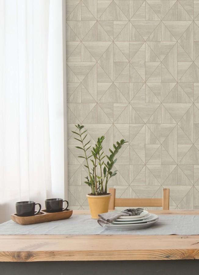 Papel pintado geométrico efecto madera estilo Art Déco Royal Lodge 679277