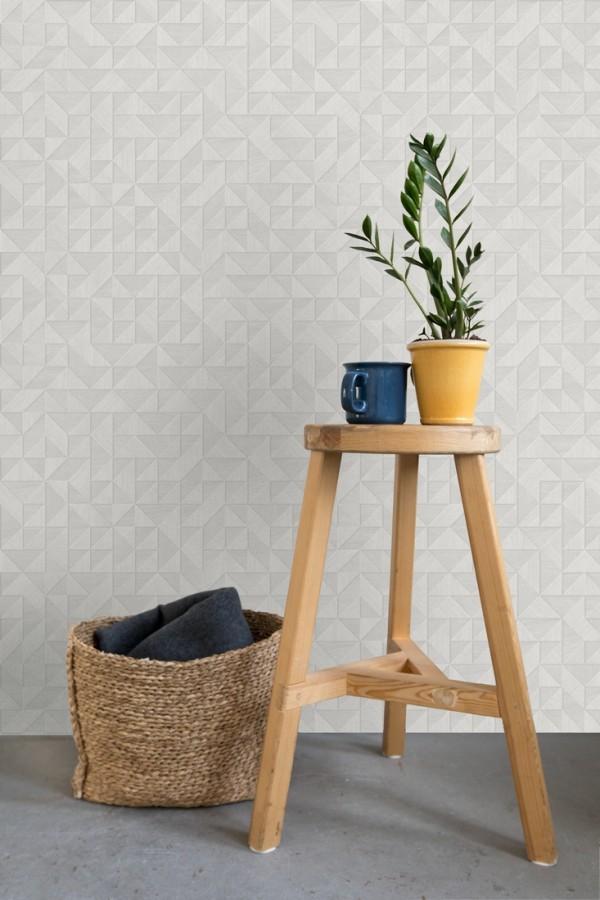 Papel pintado geométrico con textura efecto madera Fort William 679278