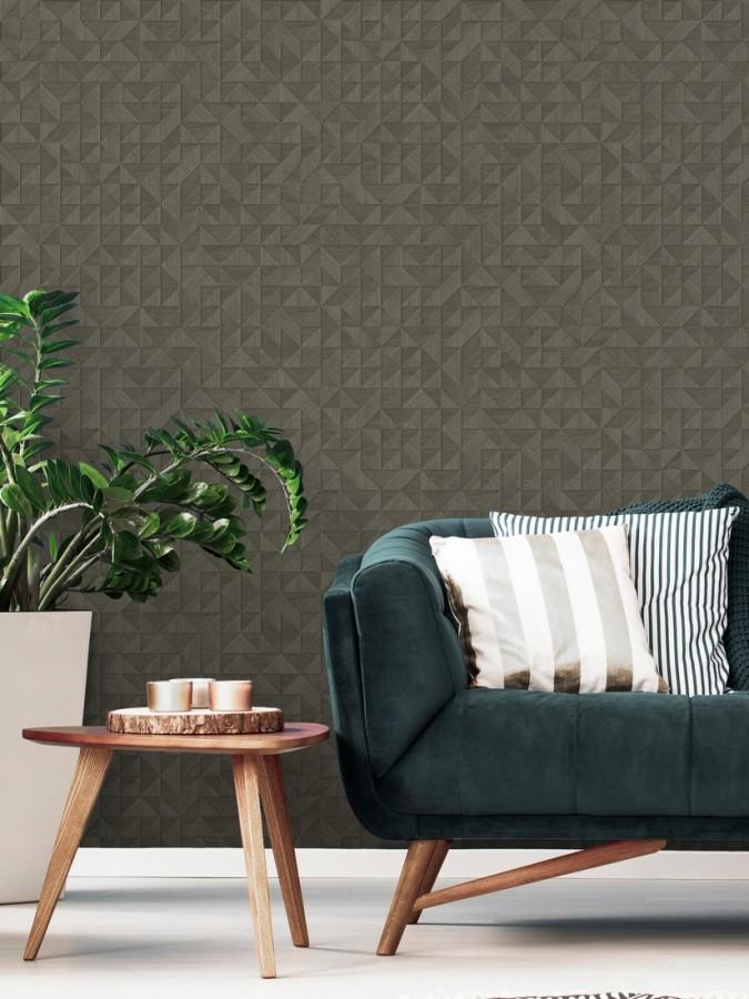 Papel pintado geométrico con textura efecto madera Fort William 679280