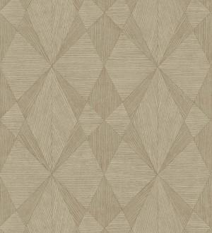Papel pintado geométrico texturizado con vetas de madera tonos ocre Copernico 679283