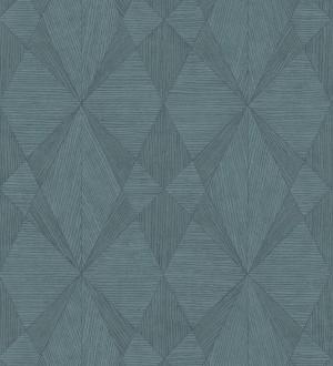Papel pintado geométrico texturizado con vetas de madera tonos azulados Copernico 679284