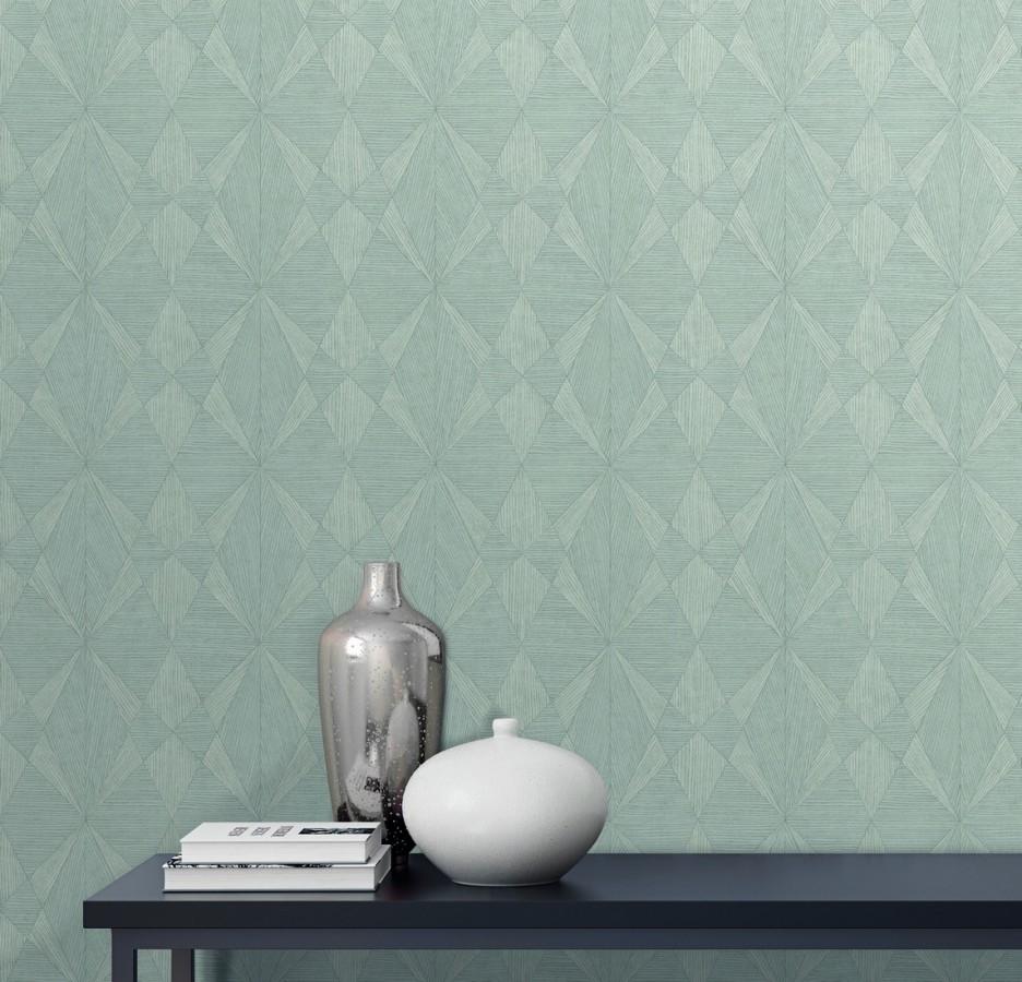 Papel pintado geométrico texturizado con vetas de madera gris claro Copernico 679286