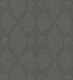 Papel pintado geométrico texturizado con vetas de madera gris Copernico 679287