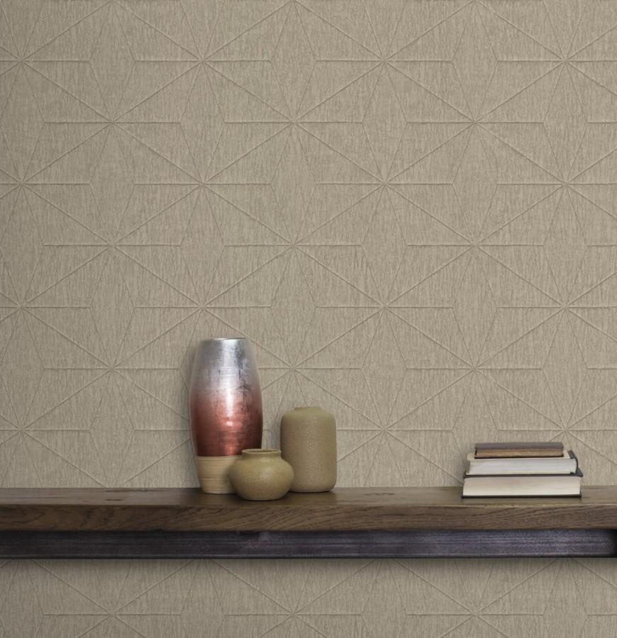 Papel pintado geométrico texturizado tonos ocre Corinto 679293