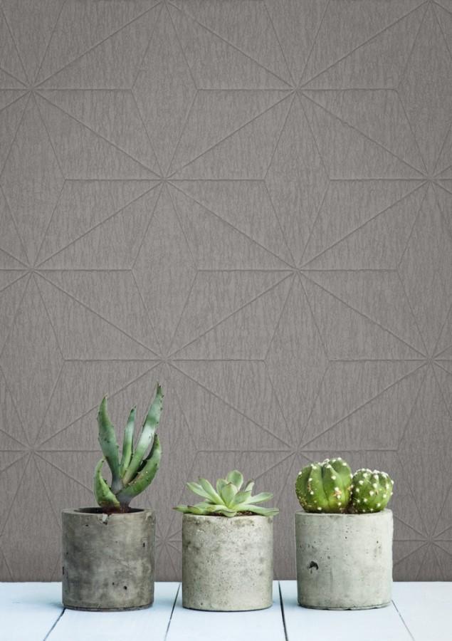 Papel pintado geométrico texturizado gris Corinto 679294
