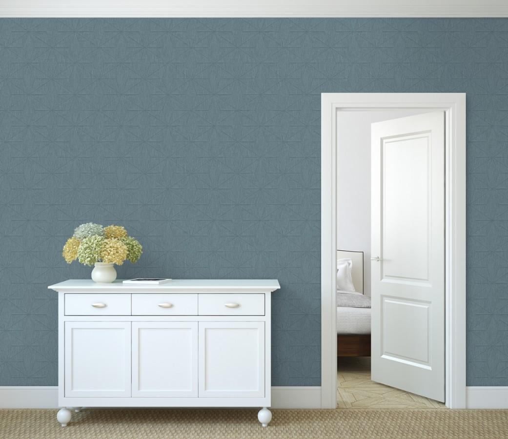 Papel pintado geométrico texturizado tonos azulados Corinto 679295