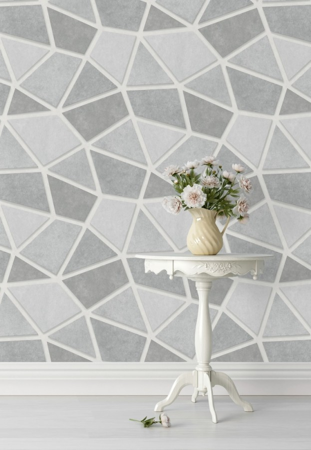 Papel pintado mosaico de piedra tonos grises Newton Hill 679302