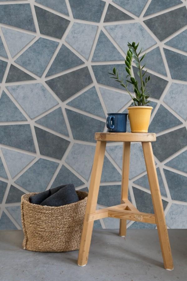 Papel pintado mosaico de piedra tonos azulados Newton Hill 679303