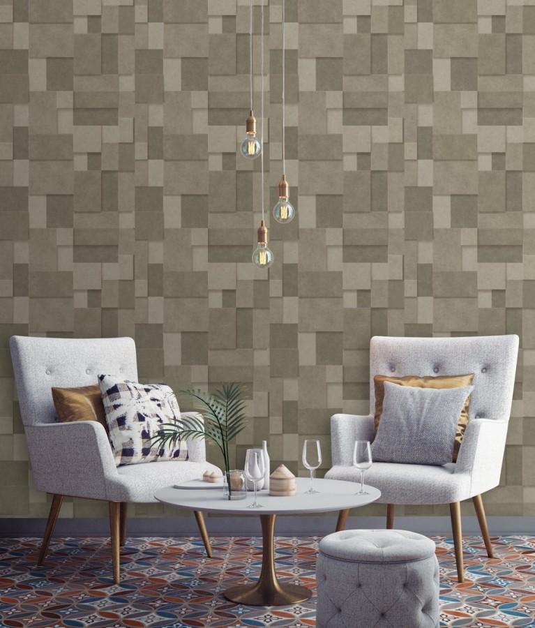 Papel pintado rectángulos geométricos texturizado tonos marrones Denver Stone 679305