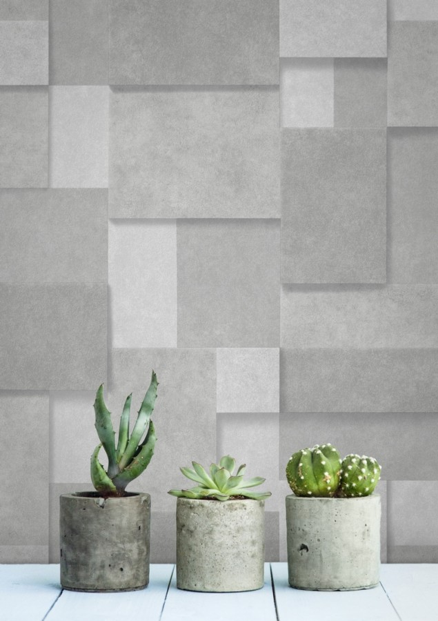 Papel pintado rectángulos geométricos texturizado gris claro Denver Stone 679306