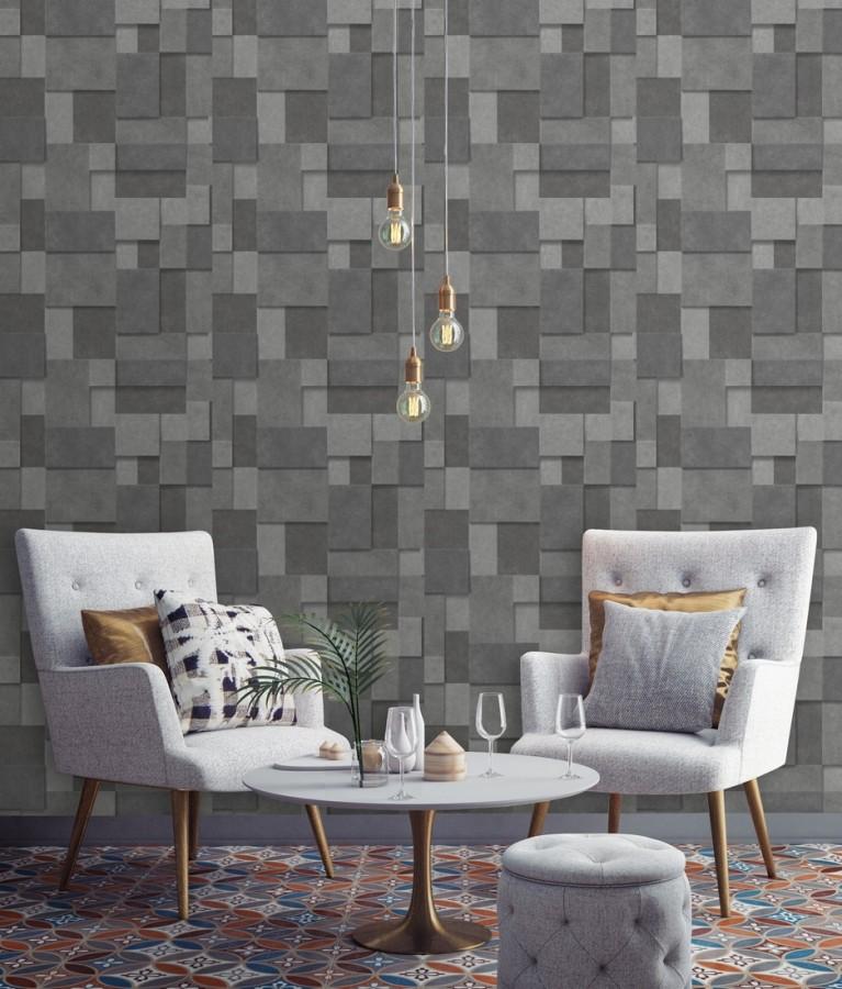 Papel pintado rectángulos geométricos texturizado tonos grises Denver Stone 679307