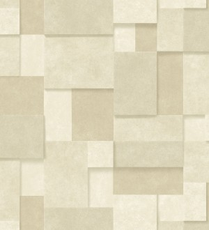 Papel pintado rectángulos geométricos texturizado tonos beige Denver Stone 679308