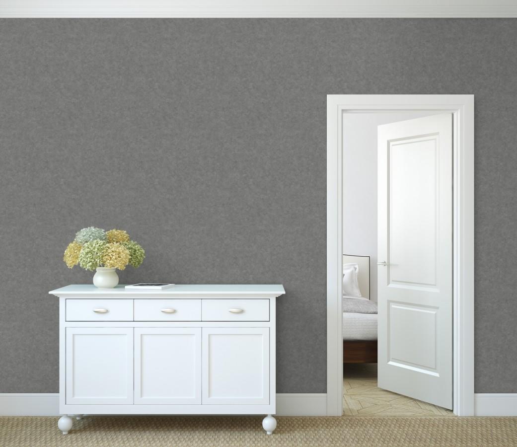 Papel pintado liso texturizado gris Stuart Hall 679313