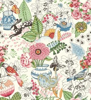 Papel pintado romántico con mariposas conejos y ocas Sophie Blossom 679375