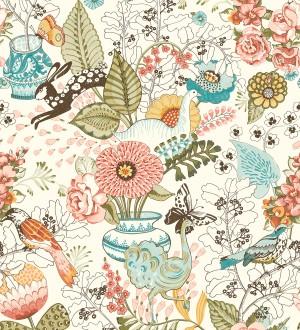 Papel pintado romántico con mariposas conejos y ocas Sophie Blossom 679376