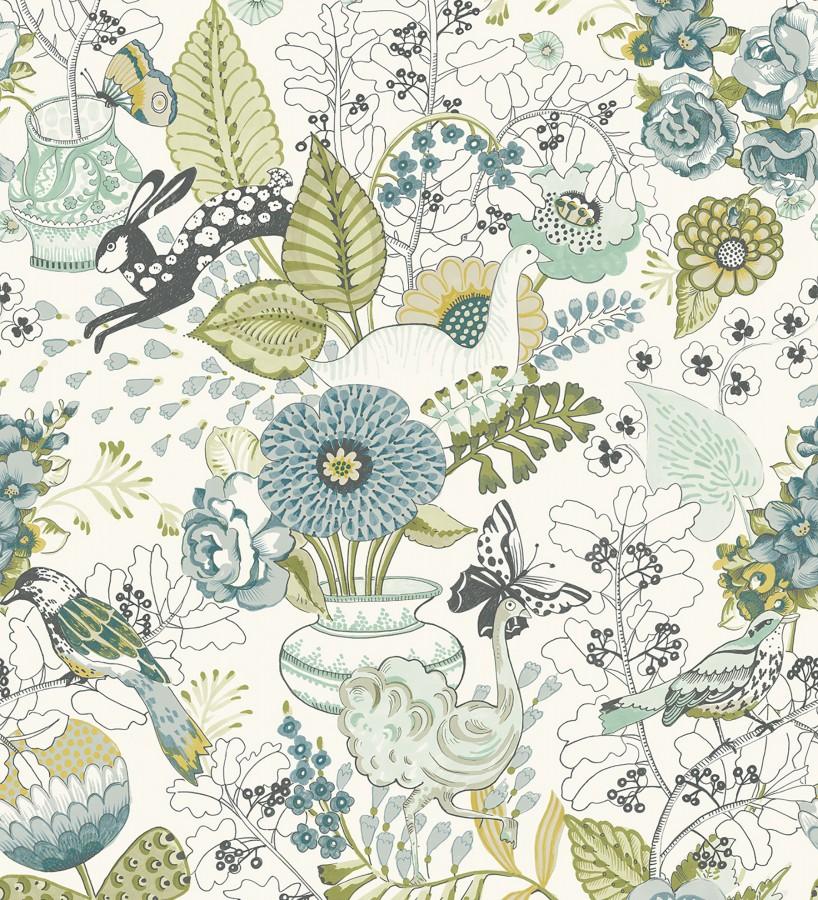 Papel pintado romántico con mariposas conejos y ocas Sophie Blossom 679377