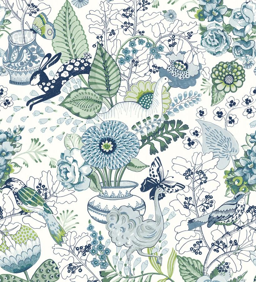 Papel pintado romántico con mariposas conejos y ocas Sophie Blossom 679378