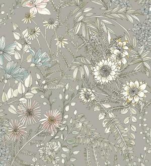Papel pintado flores y hojas silvestres Marseille 679381