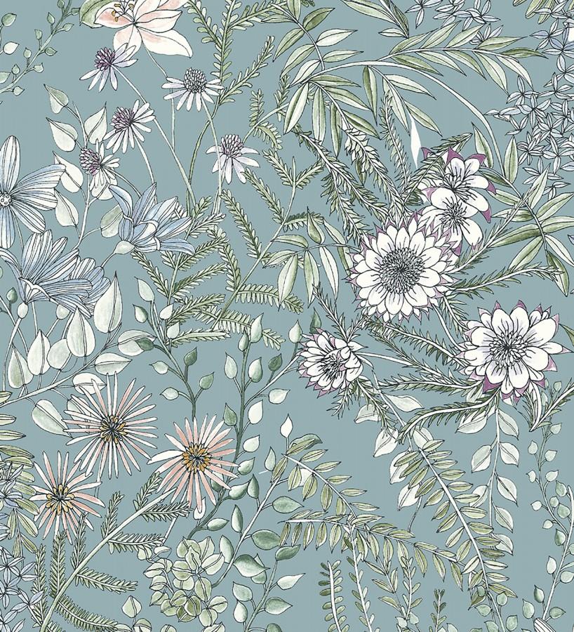 Papel pintado flores y hojas silvestres Marseille 679382