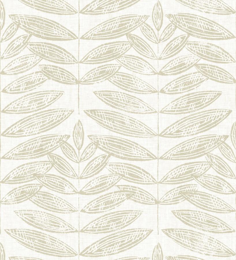 Papel pintado hojas beige de estilo nórdico Quebec Leaves 679392