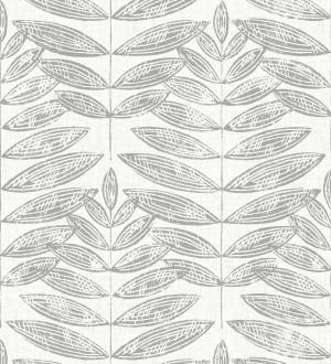 Papel pintado hojas grises de estilo nórdico Quebec Leaves 679393
