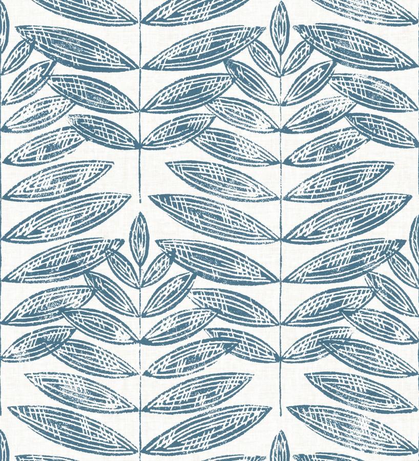 Papel pintado hojas azules de estilo nórdico Quebec Leaves 679394