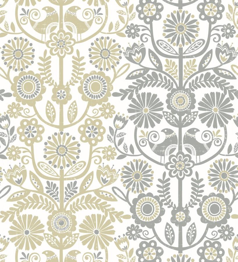 Papel pintado nórdico de flores formando rayas ocres y grises Canterbury 679396