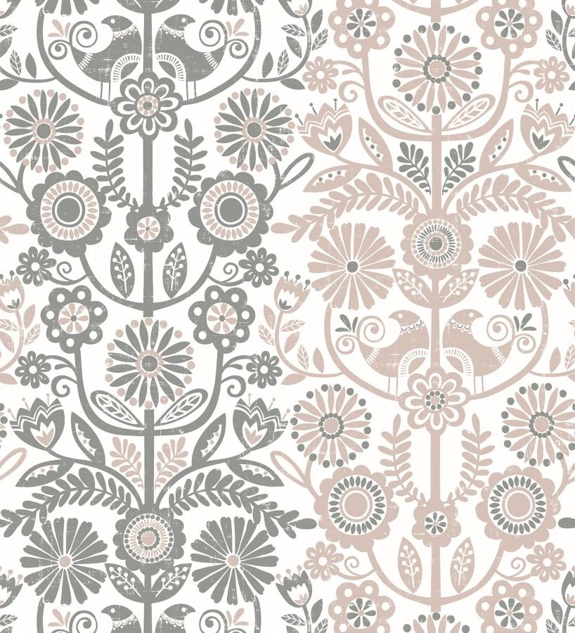 Papel pintado nórdico de flores formando rayas grises y rosa palo Canterbury 679397
