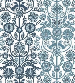 Papel pintado nórdico de flores formando rayas celestes y azules Canterbury 679398