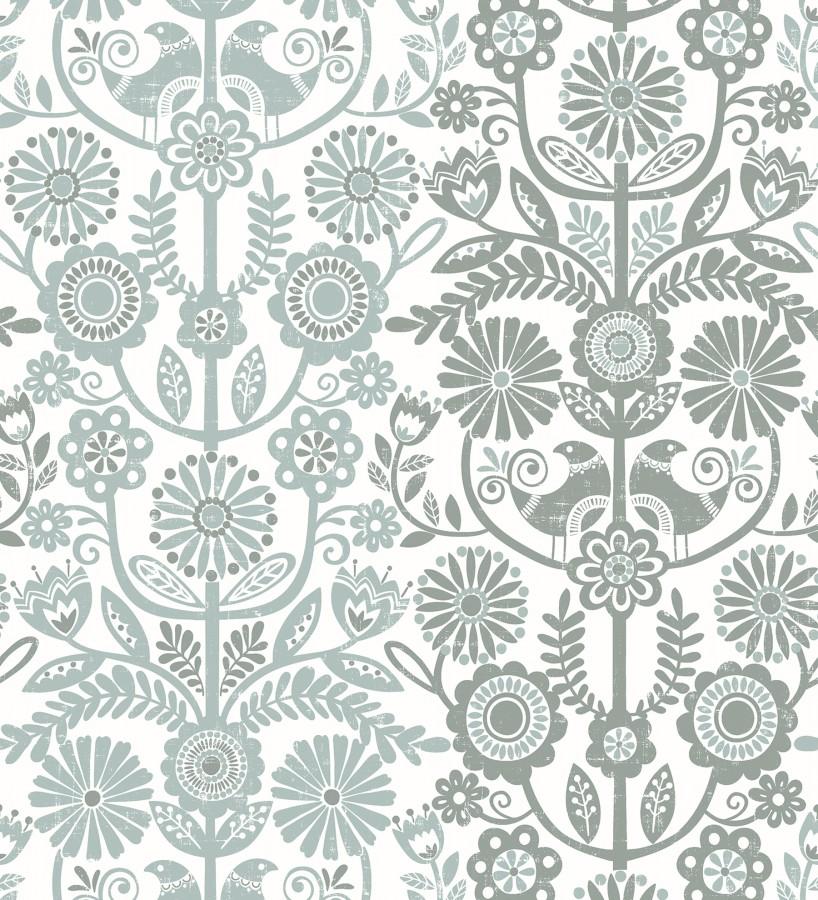Papel pintado nórdico de flores formando rayas celestes y grises Canterbury 679399