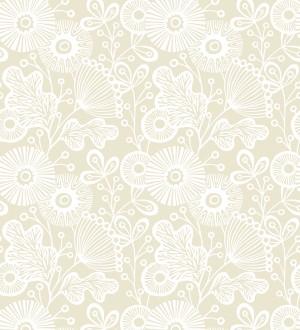 Papel pintado flores nórdicas tonos beige Sunday Flowers 679400