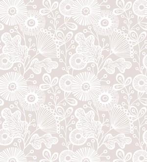 Papel pintado flores nórdicas tonos rosas Sunday Flowers 679401