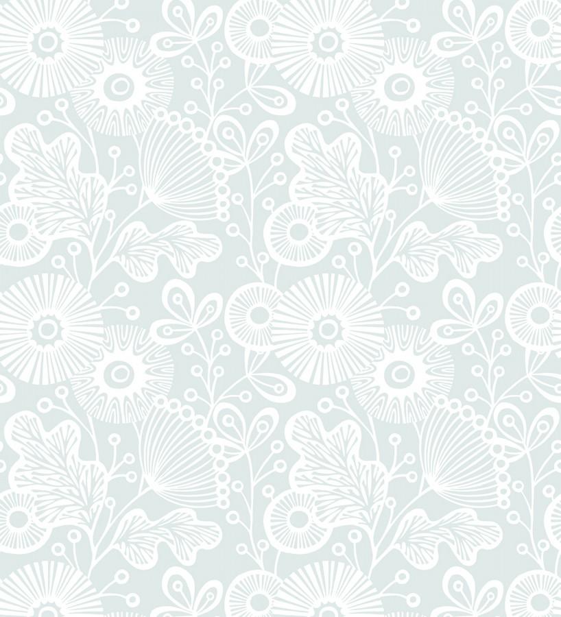 Papel pintado flores nórdicas tonos celestes Sunday Flowers 679402