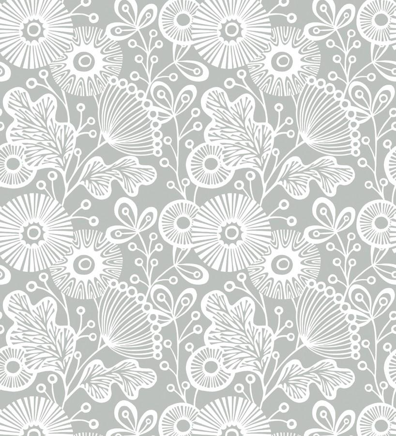 Papel pintado flores nórdicas tonos grises Sunday Flowers 679403