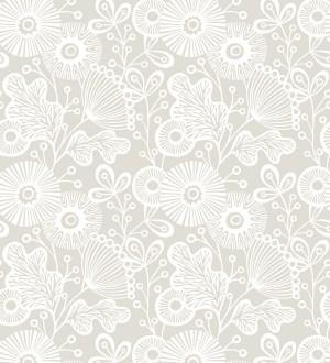 Papel pintado flores nórdicas tonos claros Sunday Flowers 679404