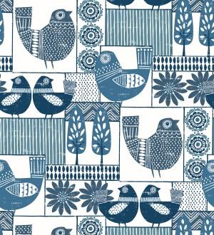 Papel pintado de gallinas y árboles con estilo nórdico Scandi Birds 679405