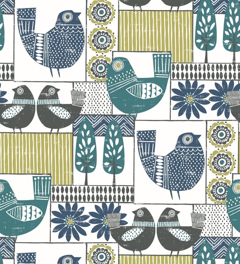 Papel pintado de gallinas y árboles con estilo nórdico Scandi Birds 679406
