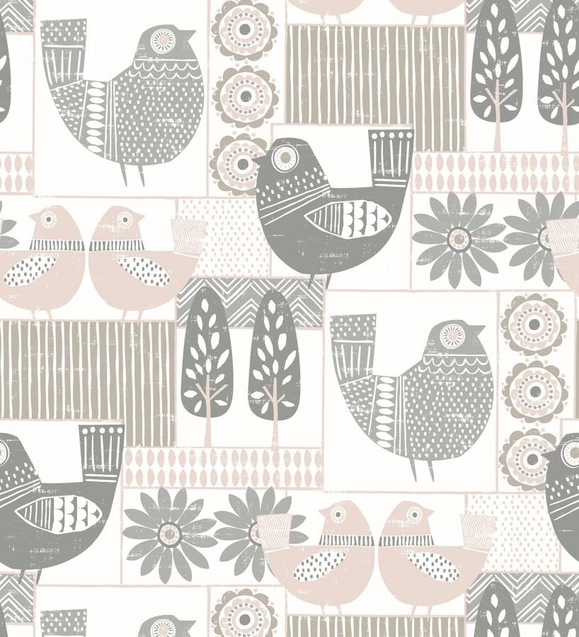 Papel pintado de gallinas y árboles con estilo nórdico Scandi Birds 679407