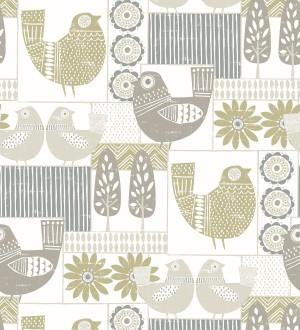 Papel pintado de gallinas y árboles con estilo nórdico Scandi Birds 679408