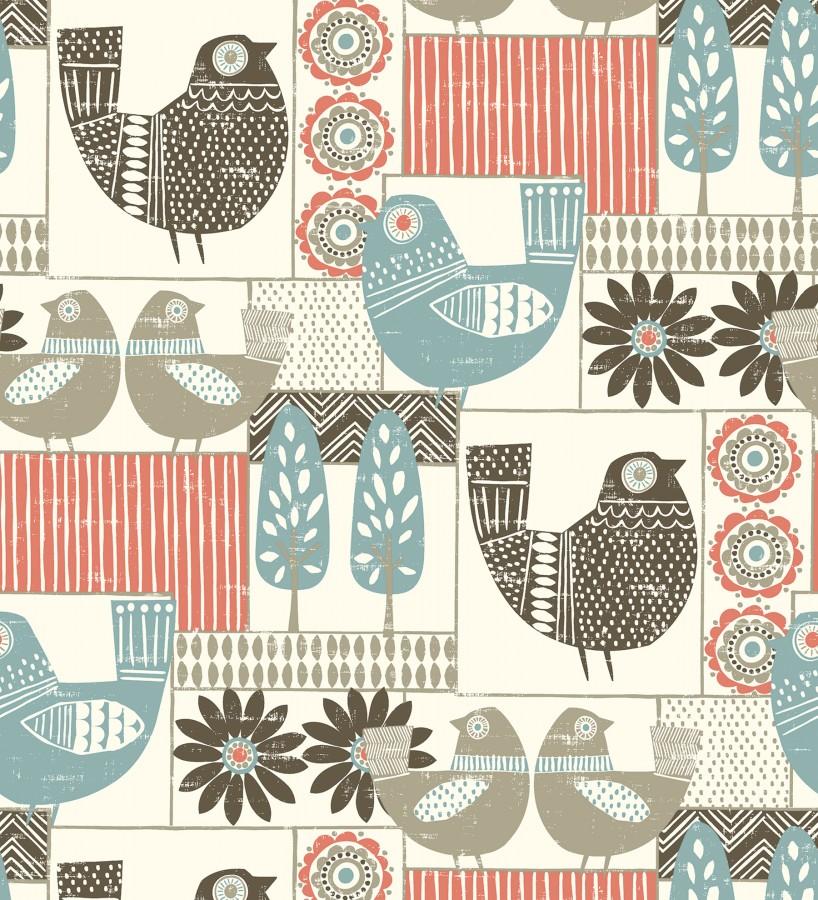 Papel pintado de gallinas y árboles con estilo nórdico Scandi Birds 679409