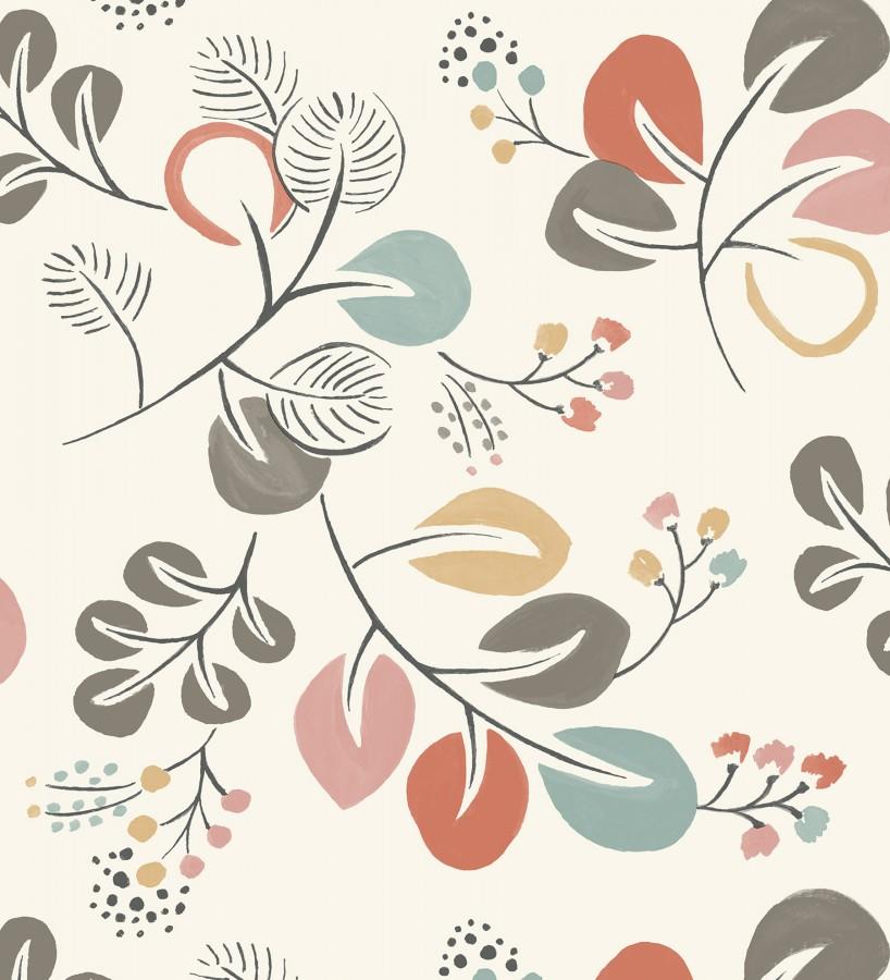 Papel pintado hojas estilo nórdico tonos coral Blossom Hall 679414