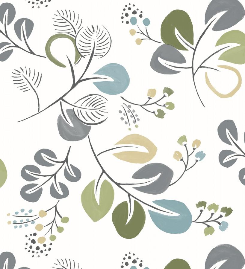 Papel pintado hojas estilo nórdico tonos verdes Blossom Hall 679415