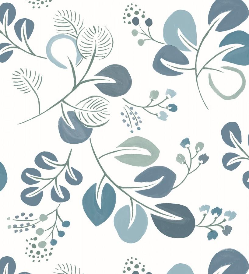 Papel pintado hojas estilo nórdico tonos celeste Blossom Hall 679416