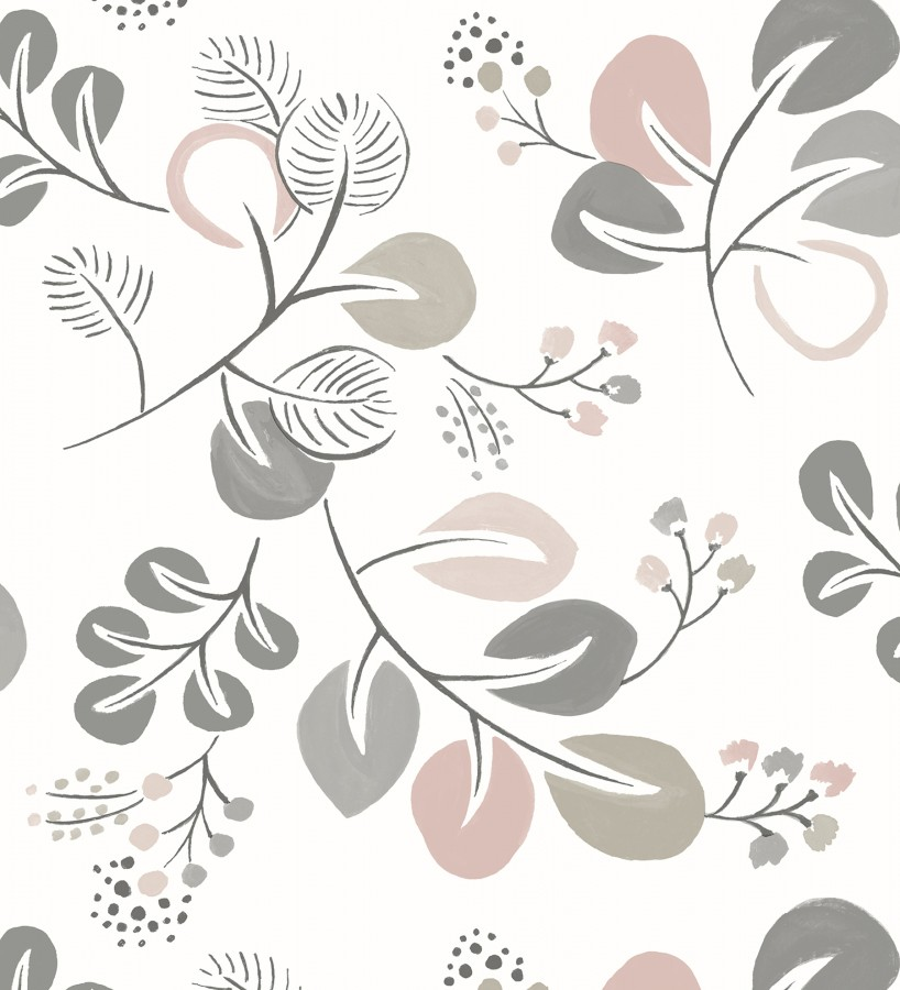 Papel pintado hojas estilo nórdico tonos rosa palo Blossom Hall 679417
